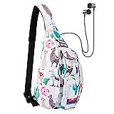 HAWEE Sports Backpack Crossbody Bag Hiking Backpack Chest Sling Bag Sports Travel Daypack for Women, Cactus Alpaca