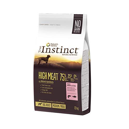 True Instinct High Meat Adult - Nature's Variety - Croquettes pour Chien Adulte avec Saumon sans Arêtes et Truite - 12kg