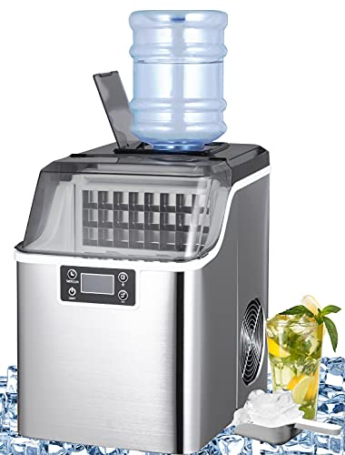 WATOOR Ice Maker Machine Countertop, 44Lbs/24H Auto Self-Cleaning, 24 pcs Ice Cube in 15 Mins, 3L Portable Compact Ice Cube Maker with Ice Scoop, Perfect for Home/Kitchen/Office/Bar Sliver