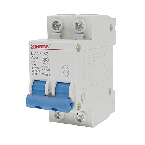 VictorsHome Miniature Circuit Breaker Low-Voltage DZ47-63 2 Pole 20A 400V DIN Rail Mount C20