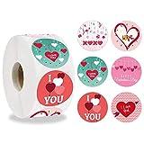 I LOVE YOU Stickers Roll 500pcs, Pegatinas de 6 Colores para El Día de San Valentín, Adhesivo de Amor de 1.5 Pulgadas para Decoración de Fiesta de Cumpleaños de Aniversario de Boda de Compromiso