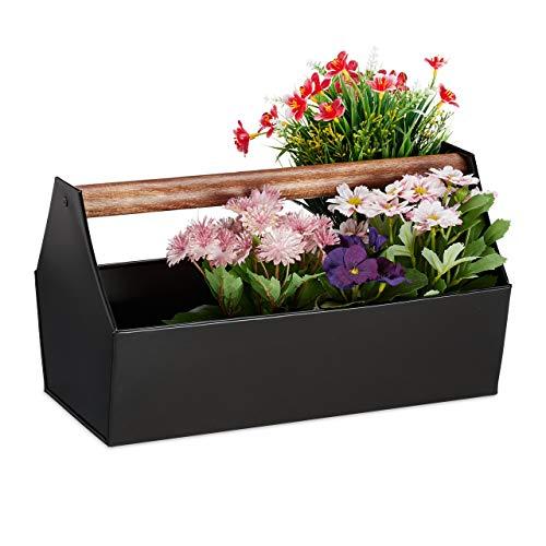 Relaxdays Blumenkasten, Holzgriff, Blumen, Pflanzen & Kräuter, Deko Werkzeugkasten, Eisen, HBT 20 x 36 x 20 cm, schwarz