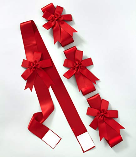 The Lakeside Collection Red Holiday Ribbons for Use on Furniture and Room Accents - Set of 4