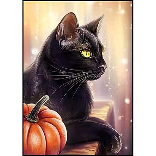 Juego De Pintura De Diamantes Black Cat Pumpkin DIY 5D Pintura De Diamante Cristal Cruz Bordado Artesanía Regalos para Adultos Y Niños 30 * 40cm