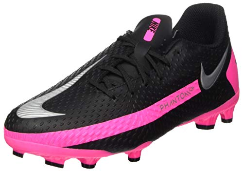 Nike Jr. Phantom GT Academy FG/MG, Football Shoe, Black/Metallic Silver-Pink Blast, 37.5 EU