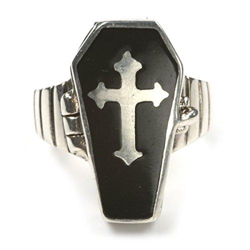 Drachensilber Sarg Silberring mit Fach Giftring Gothic Schmuck 925 Silber Größe 58