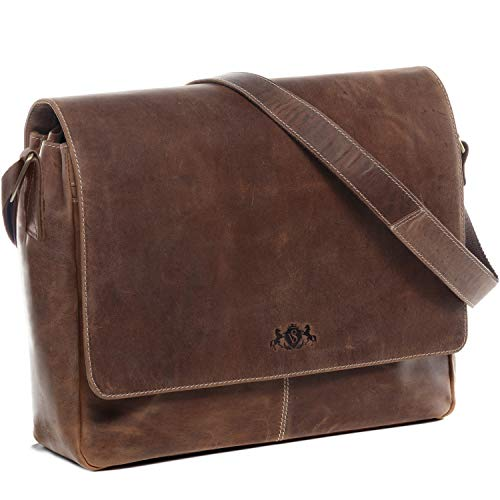 SID & VAIN XL Messenger Bag mit 15' Laptop-Fach echt Leder Spencer groß Businesstasche Laptoptasche Umhängetasche Ledertasche Herren braun