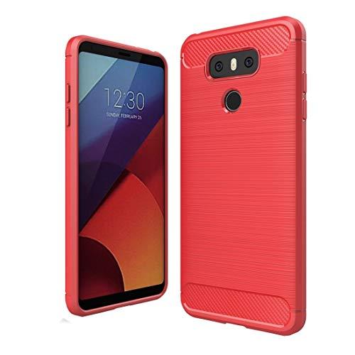 Fundas LG For LG G6 Funda de protección de TPU con Textura de Fibra de Carbono Cepillado a Prueba de Golpes Fundas LG (Color : Red)