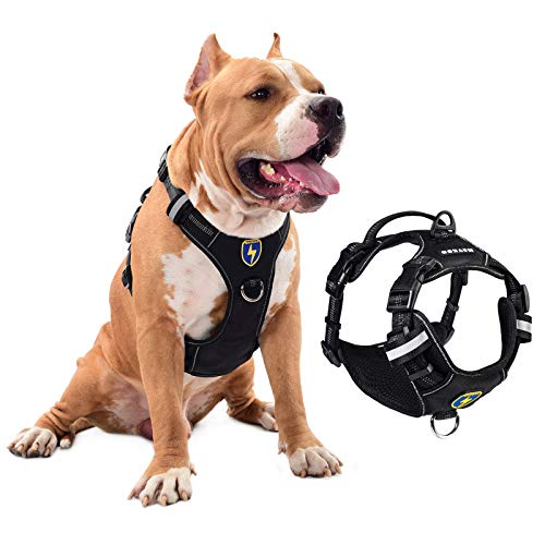 MeyKoo Dog Harness No Pull Soft Breathable,Easy Put on &Off No Choke Control Training Handle Outdoor Walk Joyride,Adjustable Reflective Padded Leash Vest Harness for Small Medium Large Dogs (S, Black)