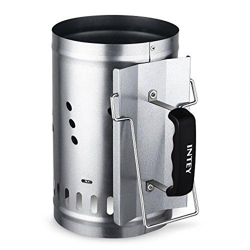 INTEY Encendedor de carbón-Chimenea de Encendido Grill con asa de seguridad 30 x 19 cm barbacoa BBQ