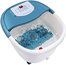 Foot Spa Bath Massager with Heat,6 Motorized Massage Rollers,Bubbles,Vibration and Red Light,Digital Temperature Control,Timer,Pedicure Stone,Relax Tired Feet for Home Office Use(Blue)