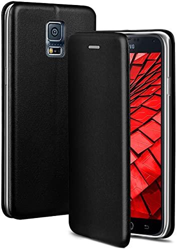 ONEFLOW Handyhülle kompatibel mit Samsung Galaxy S5 / S5 Neo - Hülle klappbar, Handytasche mit Kartenfach, Flip Hülle Call Funktion, Leder Optik Klapphülle mit Silikon Bumper, Schwarz