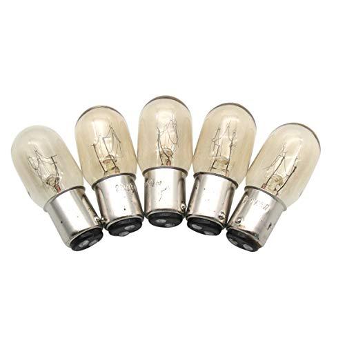 KUNPENG -5piezas # BA15D 220V Bombillas ajuste para Singer Home Máquina de coser 1.5W 220 voltios Push In Type
