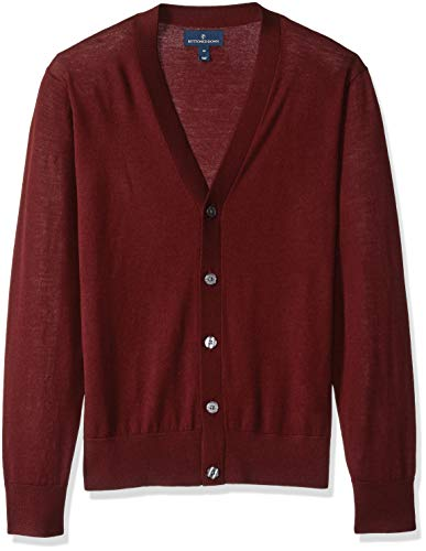 BUTTONED DOWN Men's Italian Merino Wool Lightweight Cashwool Cardigan Sweater, Burgundy, X-Small