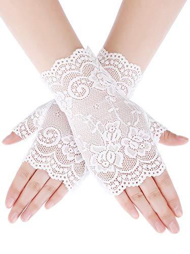 Women's Bridal Floral Short Lace Fingerless Gloves