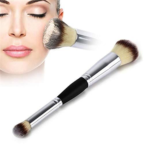 Hwenli Pinceaux De Maquillage, 1Pc Double Tête Professionnelle Multifonction Pinceaux De Maquillage Beauté De Teint en Poudre Brosses Poignée en Métal Femmes Cosmétiques Make Up Outils
