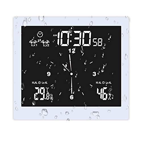 Reloj de ducha Reloj digital de cuenta regresiva para baño Reloj con temporizador de pared USB IP65 Impermeable para rociado de agua, Pantalla LCD grande Pantalla de temperatura y humedad,Blanco