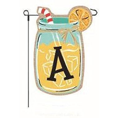 JEC Home Goods Home Garden Flags Monogram Lemonade Mason Jar Burlap Summer Garden Flag 12.5 x 18 (Letter A)