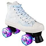 Outdoor Rollers Skates Light up Wheels high Tops Shoes Style Canvas Lightweight Adjustable Roller Skate Four Wheels Roller Skates Women Man (Blue, 7)