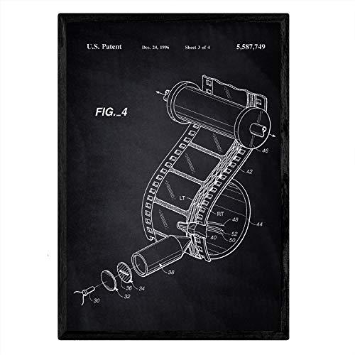 Nacnic Poster con patente de Carrete de camara de fotos. Lámina con diseño de patente antigua en tamaño A3 y con fondo negro