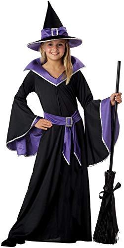 Tante Tina Hexenkostüm Mädchen - 3-teiliges Mädchen Kostüm Hexe mit Kleid , Gürtel und Hut - Schwarz, Lila - Größe L ( 140 ) - geeignet für Kinder von 7 bis 10 Jahren