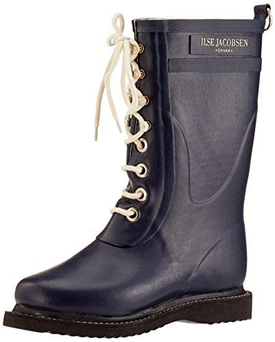 Ilse Jacobsen Damen Gummistiefel | Schuhe aus 100% Natur Bio Gummi | garantiert PVC frei | 3/4 Lange Stiefel mit Schnürsenkel aus 100% Baumwolle | RUB15 Blau 40 EU