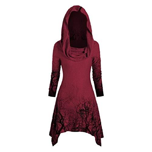 Bluelucon Damen Halloween Kapuzenpulli Herbstmode Loose Asymmetrisch Sweatshirt mit Kapuze Foldover Kragen Tunika Falten Shirt Langarmshirt...