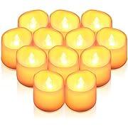 Criacr LED Kerzen, 12 LED Teelichter Flackernd, Flammenlose Kerzen, Elektrische teelichter mit CR2032 Batterien, 3.6 x 3.2 cm, Dekoration LED Kerzen für Weihnachten, Hochzeit, Parties(Warmweiß)