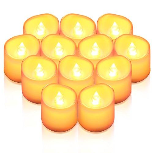 Criacr LED Kerzen, 12 LED Teelichter Flackernd, Flammenlose Kerzen, Elektrische teelichter mit CR2032 Batterien, 3.6 x 3.2 cm, Dekoration LED Kerzen für Halloween, Hochzeit, Parties(Warmweiß)
