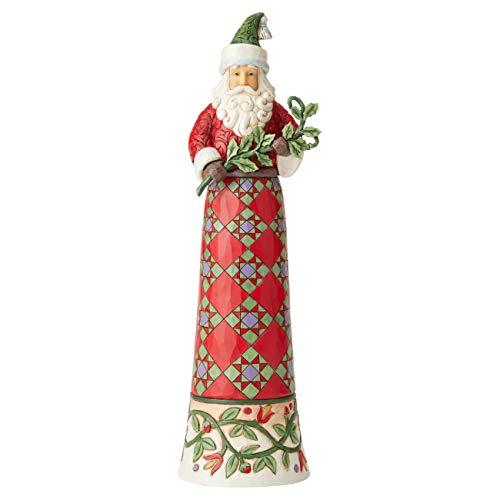 Jim Shore Heartwood Creek Babbo Natale con La Coda Stretta e un Ramo, 38 cm
