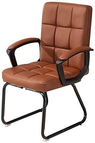 WYL Computer Desk Chair High Back PU Leather Gaming Desk Chair Bow Foot Ergonomic Office Chair for Office Meeting Room Bearing Capacity: 330 Pounds (Color : Brown)