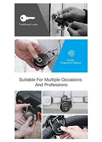 Waterproof Bluetooth Smart Padlock, Keyless Fingerprint Lock Anti-Theft Security Padlock for Door Bag Drawer Suitcase