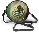 Bolso redondo mujer Women's Summer Round Bag Retro Mexico Flag Fashion Crossbody Shoulder Handbag Sling Purse Sling Bag
