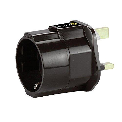 Pure² - Adaptador de corriente de viaje (con contacto de puesta a tierra, enchufe europeo a inglés)