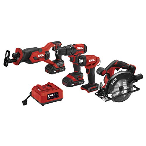heavy duty SKIL 20V combination set and 4 tools: cordless drill / driver 20V, reciprocating saw, circular saw, headlight, 2 2.0 Ah lithium batteries and charger – CB739701