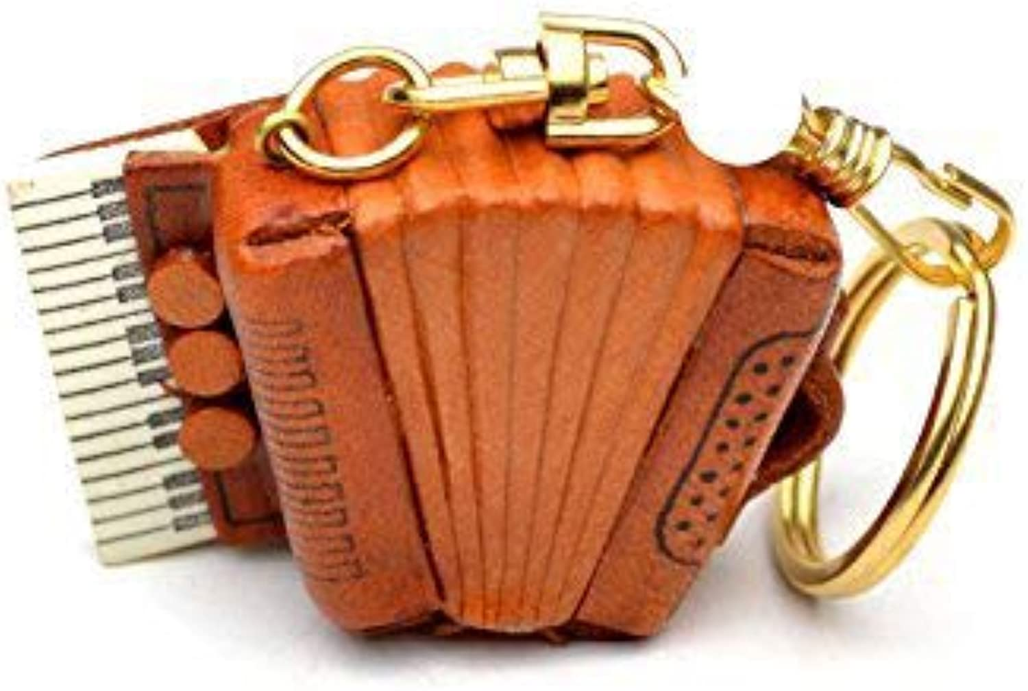 Accordion Leather Music Instrument KH Keychain VANCA CRAFT-Collectible keyring Made in Japan