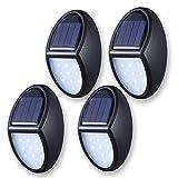 Luz solar de pared (4 unidades), 10 luces LED resistentes al agua para iluminación al aire libre, luz de noche a amanecer, encendido/apagado