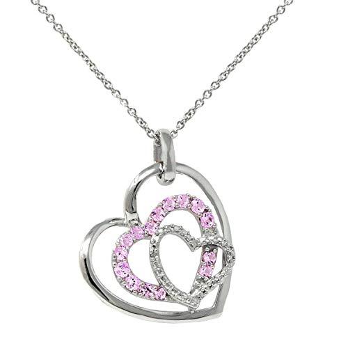 Original McPearl Rosa Saphir u. Diamant Herz Anhänger mit Kette. Top Qualität aus Deutschland.