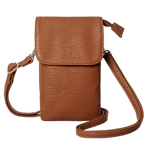MINICAT Roomy Pockets Series Small Crossbody Bags Cell Phone Purse Wallet for Women(Brown)