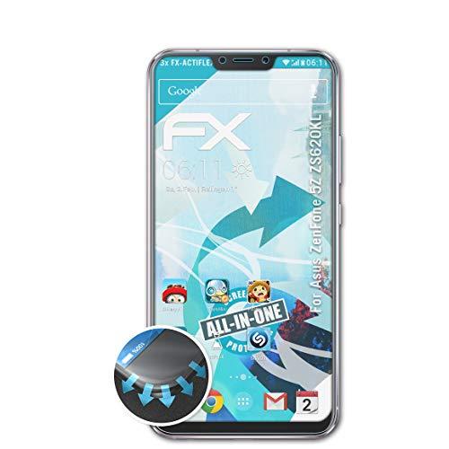 atFolix Schutzfolie kompatibel mit Asus ZenFone 5Z ZS620KL Folie, ultraklare & Flexible FX Bildschirmschutzfolie (3X)