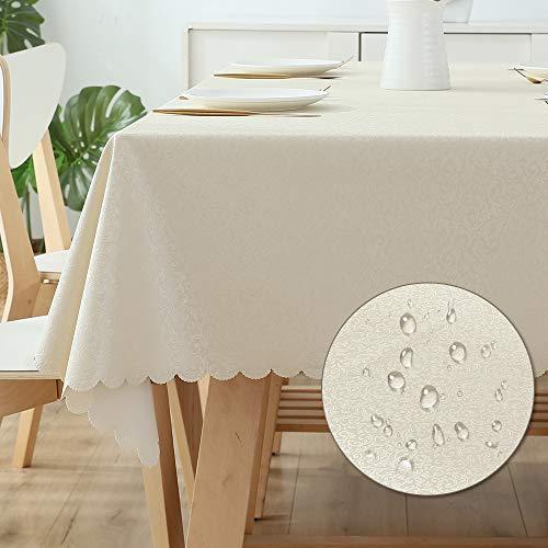 All--In Tischdecke Ölbeständigt Meterware Wachstuch Bügelfrei Kratzfes PU Plastik Wasserdicht Eckig Tischtuch für Restaurant Wedding Hotel zu Hause(Champagner, 120 x 180 cm)