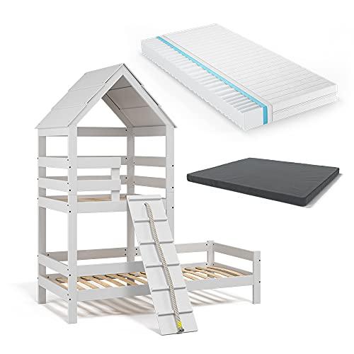 VitaliSpa Kinderbett Teddy 90x200cm Spielturm Bett Spielbett Jugendbett Hausbett inklusive Matratze Natur (Weiß)