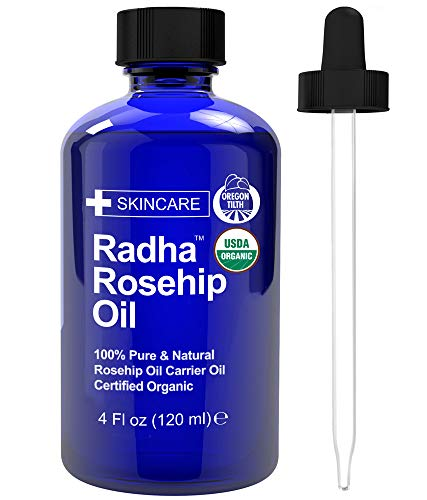 Radha Beauty USDA Certified Organic Rosehip Oil, 4 oz. - 100% Pure & Cold Pressed. All Natural...