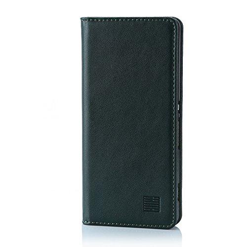 32nd Klassische Series - Lederhülle Hülle Cover für Sony Xperia XA, Echtleder Hülle Entwurf gemacht Mit Kartensteckplatz, Magnetisch & Standfuß - Jägergrün
