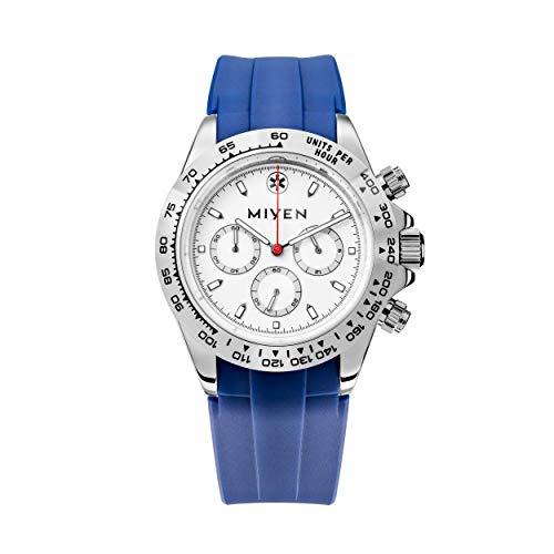 MIYEN MUNICH - Reloj Lemans Silver Caucho Blue 1140-23-4 Cronógrafo para hombre, cristal de zafiro, función taquímetro, 10 ATM.