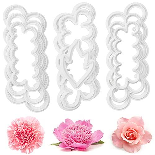 hocadon 9 Pièces Rose Petal Sugarcraft Moules, Bricolage Décoration pour Patisserie Gâteau, Roses Œillets Pivoine Moule