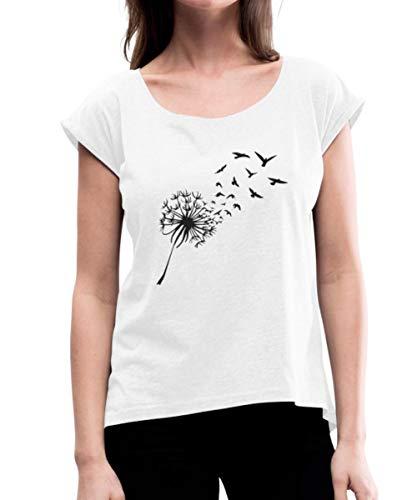 Oiseaux Aigrette De Pissenlit T-Shirt à Manches retroussées Femme, S, Blanc