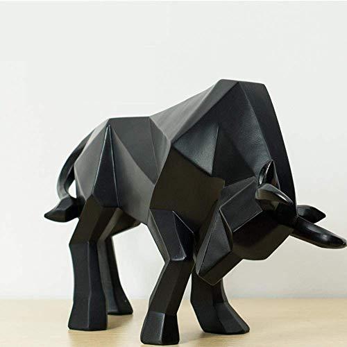 YXYOL Creativa Taurino Adornos, Escultura de Resina geométrica Bisonte Buey, extracto Bull Estatua Decoración Ministerio del Interior Arte y artesanía Ornamento Accesorios