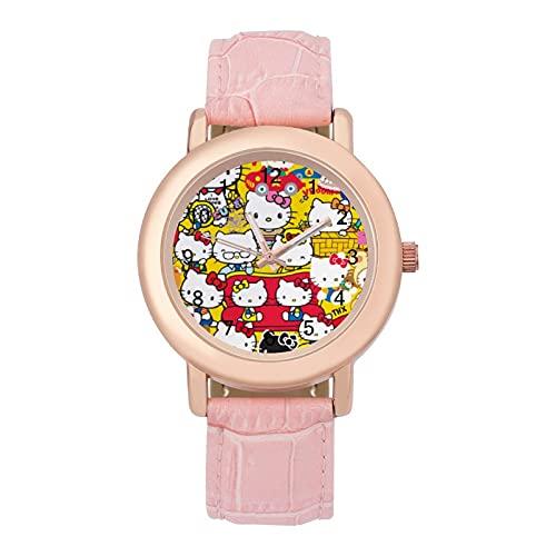 Hello Cartoon KittyLadies Cinturón de cuero reloj de cuarzo 2266 espejo de cristal redondo rosa accesorios casuales moda temperamento 1.5 pulgadas