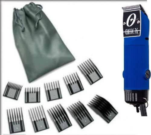 high quality New Combo Oster Classic outlet online sale 76 Limited Edition Hair clipper Blue Made in Usa very hard to find model packaged with (10 piece universal oster comb set and Detachable blade size 000 already on online sale the clipper). outlet online sale